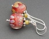 lampwork earrings peach, ivory, tan rose swirls and dots-crem rose