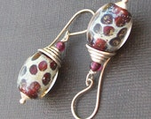 lampwork glass earrings  burgundy red sandy spotted  beads- pomme