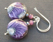 lampwork earrings gorgeous lavender ivory silvered glass beads-  lavender simplicity