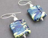 lampwork earrings rich blue and warm ivory swirl beads- blue velvet