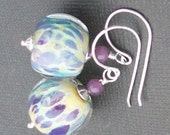 boro glass earrings ivory periwinkle, lavender, spotted beads-  wonderland