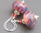 boro glass earrings bold tropical colored hot pink, peach, blue, purple beads- tropical punch