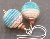 artisan polymer clay  earrings turquoise magenta ivory bead earrings- tortuga