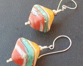 beaded earrings lampwork glass diamond shaped colorful aqua, coral orange-y silvered beads- sedona