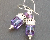 earrings purple glass crystal cubes with rhinestone accents- purple bliss
