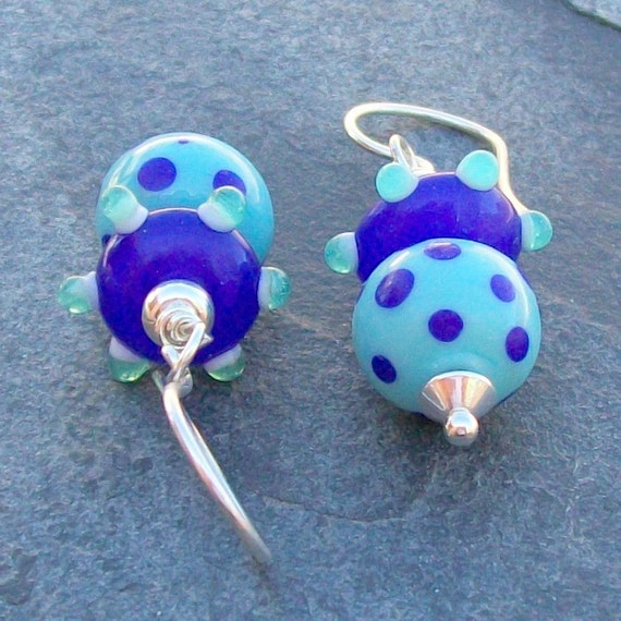 lampwork glass earrings cobalt blue and turquoise spotted beads-  viva le bump