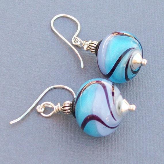 lampwork glass earringsblue lavender swirl pattern- kohla