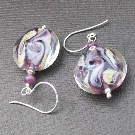 handmade lampwork earrings with purple lavender ivory swirls- lav swirls