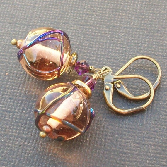 artisan lampwork glass earrings clear lavender swirl beads- wrapture