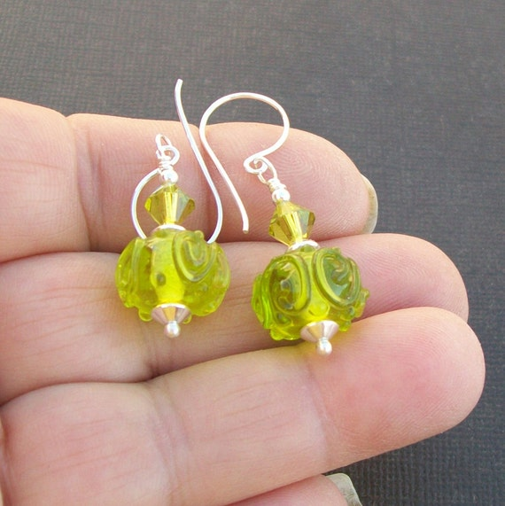 lampwork earrings clear lime green beads with scrolls-  Blimey