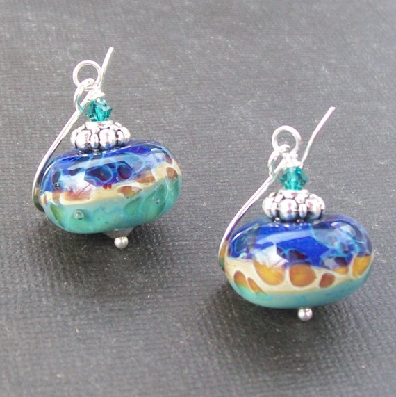 lampwork earrings boro glass aqua amber caramel spotted royal blue three color beads-  blue on blue