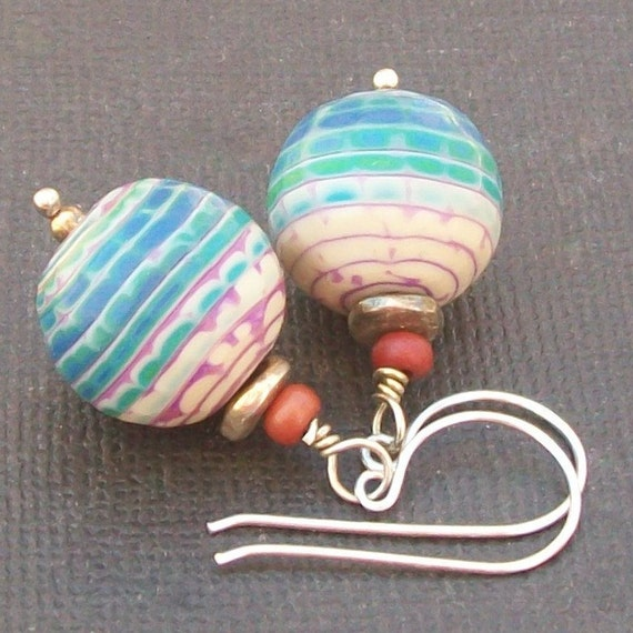 artisan polymer clay  earrings turquoise magenta ivory bead earrings- tortuga