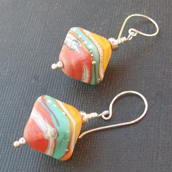 beaded earrings lampwork glass diamond shaped colorful aqua, coral orange-y silvered beads- sedona