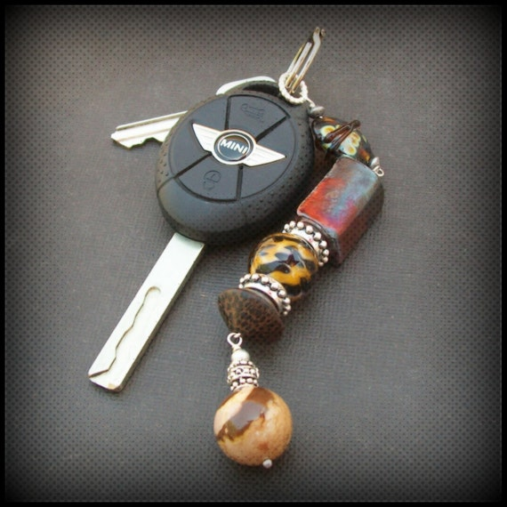 key ring chunky  brown wood, nut, ceramic and stone beads- nutty fob