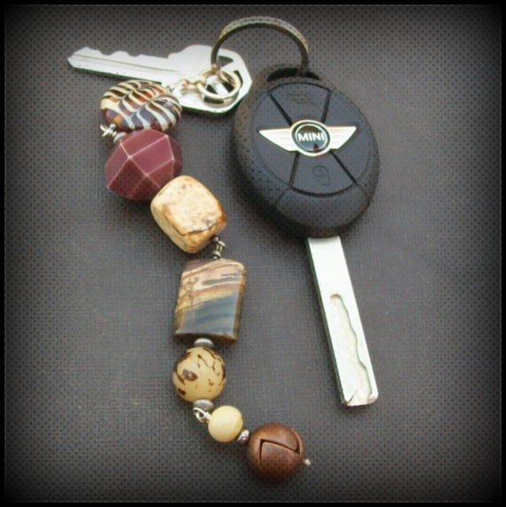 key ring chunky  brown wood, nut, ceramic and stone beads- stoney fob