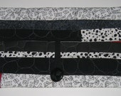 Clutch for Kindle - Black, white and red with pebble stitching