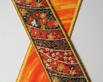 Fall flowers bookmark - gold trim