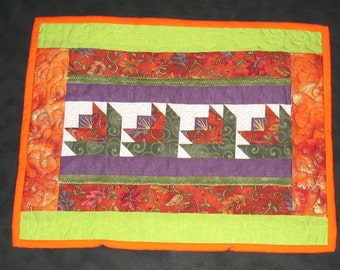 Orange, purple and lime green placemat