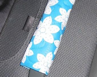 Blue Flower luggage handle wrap - blue background