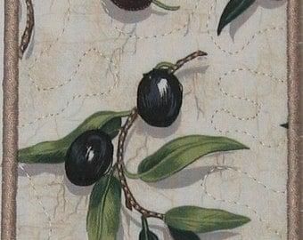 Olive coasters (set of 4 - mushroom trim)