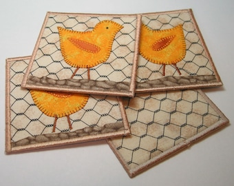 Chicken coasters -- yellow chickens on stony ground (set of 4)