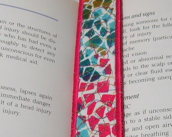 Bright multi bookmark with neon pink trim