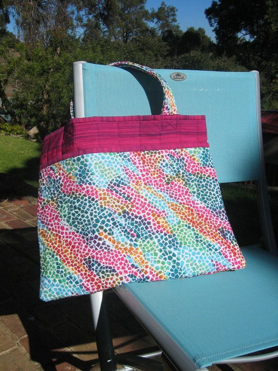 Colorful quilted laptop tote