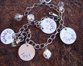 All Mine Hand Stamped Sterling Silver Disc Tag Oxidized Family Charm Bracelet