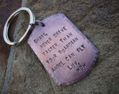 Copper Dog Tag Mens Heavy Keyring Key Chain Personalized Custom