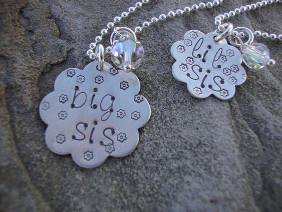 Big Sis or Lil Sis Hug Sterling Silver Hand Stamped Flower Disc Sister Necklace