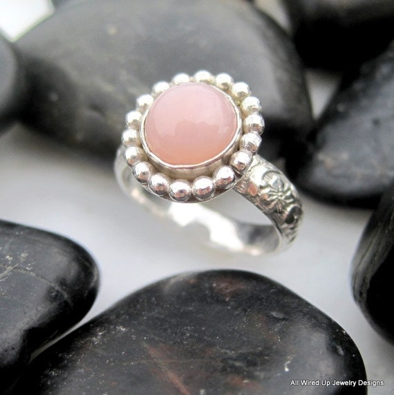 Sterling Pink Opal Ring - Flower