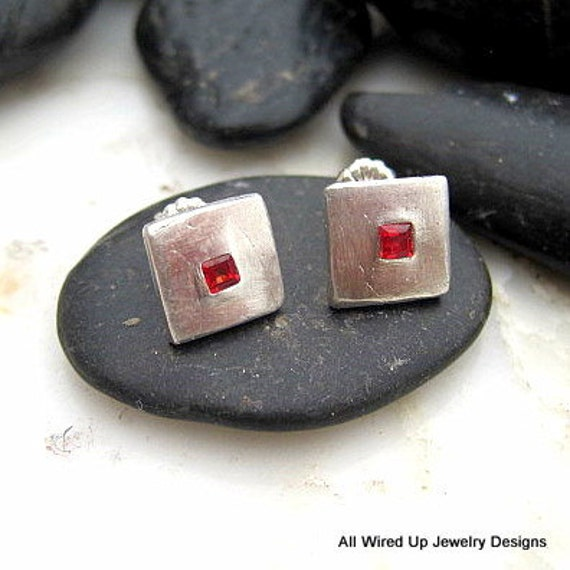 Sterling Square Post Earrings - Sterling Red Sapphire Studs