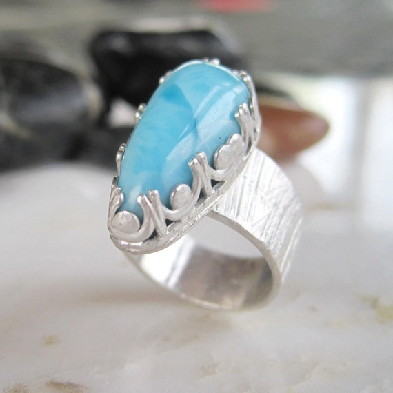 Larimar Sterling Ring - Blue Stone Cocktail Ring - Size 6 Ring