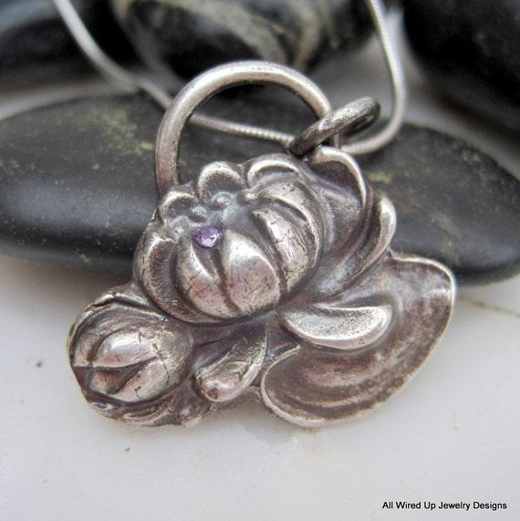 Sterling Lotus Flower Necklace - Secret Garden