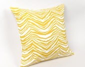 Yellow and White Zebra Print Pillow Cover 18 inch