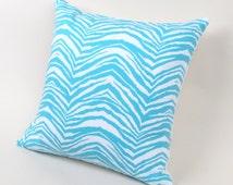 "Aqua Blue Zebra Pillow Cover 18"" - turquoise animal print pillow"