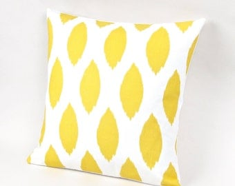 Yellow and White Ikat Pillow Cover 18 inch