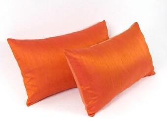 "Tangerine Tango Silk  and Linen Pillow Cover 12"" x 20"", 12"" x 24"" - 13"" x 22"" - ORANGE Silk Pillow Cover"