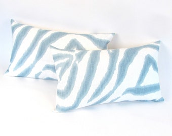 "NEW Blue and Ivory Zebra IKAT Pillow Cover 12"" x 20"""