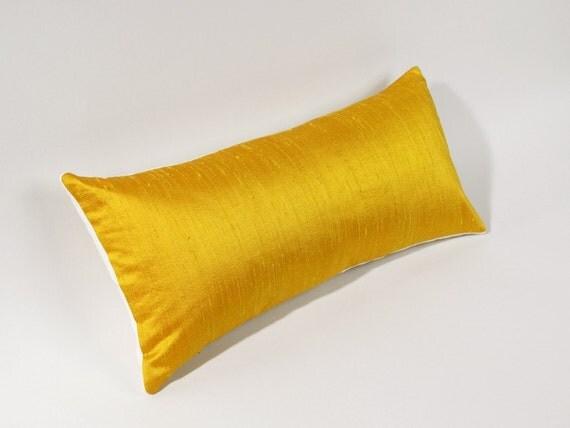 Yellow Silk Lumbar Pillow