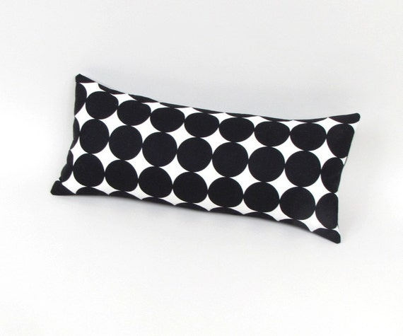 Black and White Polka Dots Pillow 8 by 17 inch