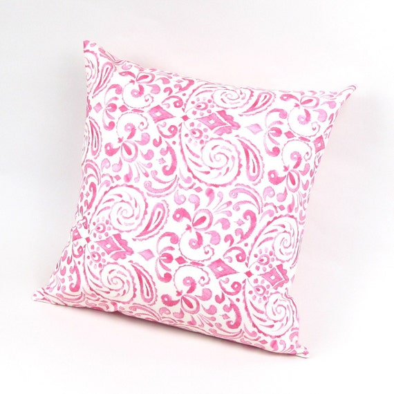 Bohemian Swirls in Pink Pillow Cover 18 inch