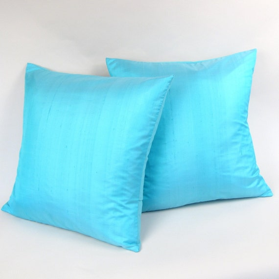 Azure Blue Silk Lumbar Pillow Cover 18 inch (one cover)