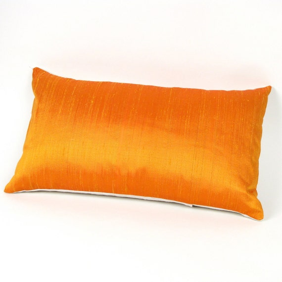 Orange Silk Lumbar Pillow Cover 12 By 20 Inch By MiCasaBella