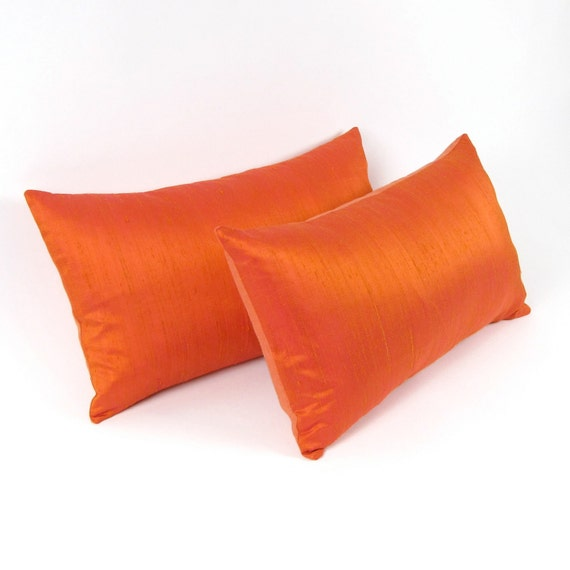 "Tangerine Tango Silk  and Linen Pillow Cover 12"" x 20"", 12"" x 24"" - 13"" x 22"" - ORANGE SILK PILLOW"