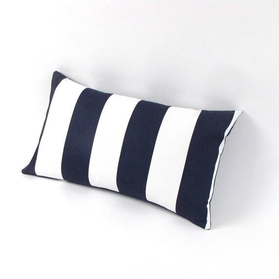 "Navy Blue and White Stripe Pillow Cover 18"", 20"", 22"", 24"" Euro, 12 x 20"", 12 x 24"", 13 x 21"", Toss Pillow, Accent Pillow, Throw Pillow"