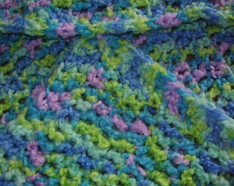 Crocheted Baby Blanket Green Blue And Lavender