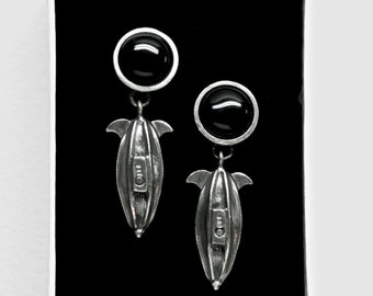Airship SteamPunk earrings with black onyx & surgical steel posts