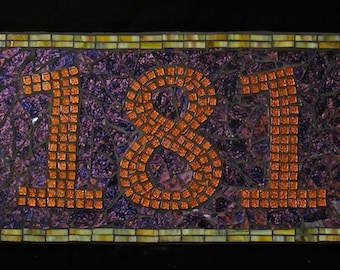 Address Plaque in Mosaic (mosaic address plaques) street address, address sign, address numbers, house numbers, house sign, street numbers)