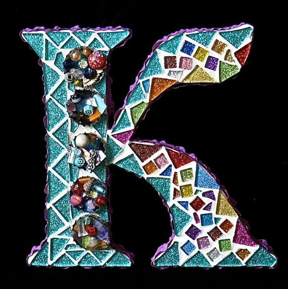 "Mosaic Letters full of Sparkle and Whimsy - ( 7""x 7.5"" wooden letters):Reserved"